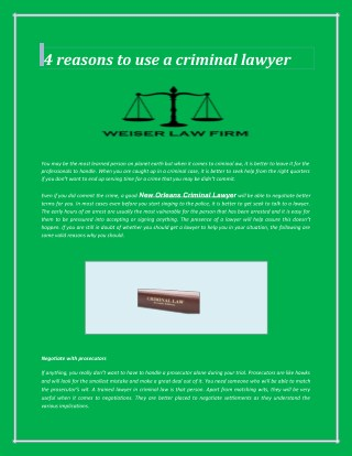 4 reasons to use a criminal lawyer
