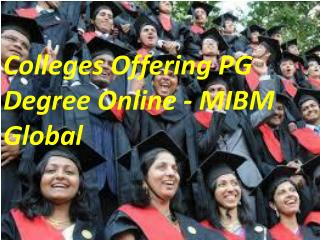Colleges Offering PG Degree Online