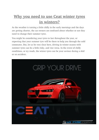 Why you need to use Ceat winter tyres in winters?