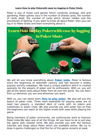 Learn How to play Poker with ease by logging in Poker Shots