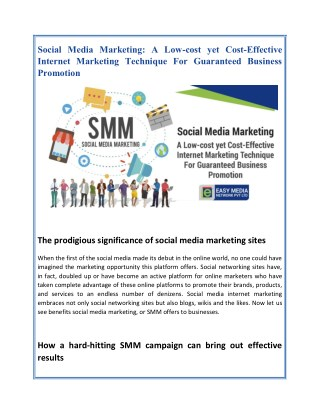 Social Media Marketing: A Low-cost yet Cost-Effective Internet Marketing Technique For Guaranteed Business Promotion