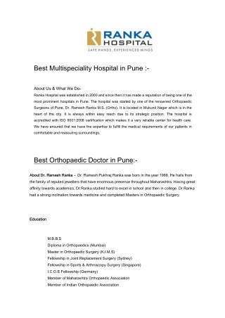 Knee Replacement Joint Replacement in Pune
