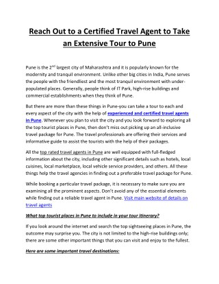 Reach Out to a Certified Travel Agent to Take an Extensive Tour to Pune