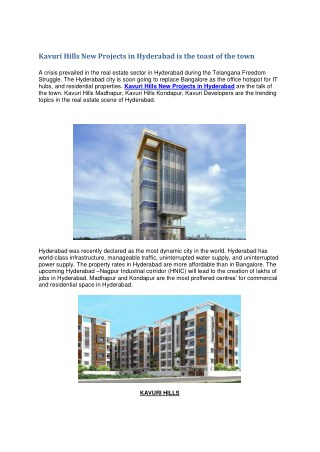Kavuri hills new projects in Hyderabad is the toast of the town