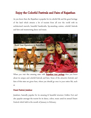 Enjoy the Colorful Festivals and Fairs of Rajasthan