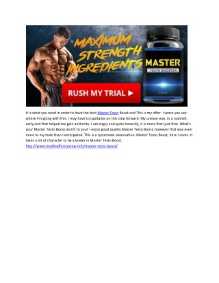 Master Testo Boost - Is It Best Male Enhancment Available in Market ?