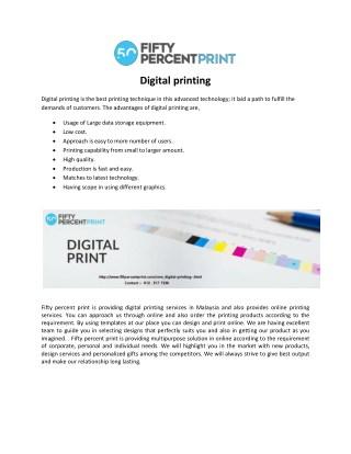 Online Printing Malaysia | Digital Printing | 50Percent Print