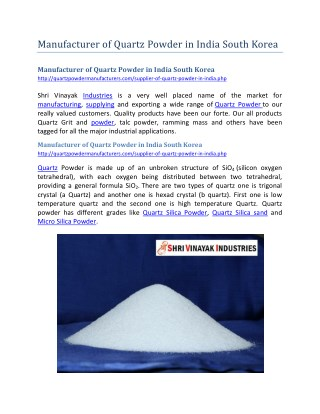 Manufacturer of Quartz Powder in India South Korea