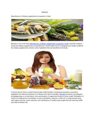 Manufacturer of dietary supplements companies in india