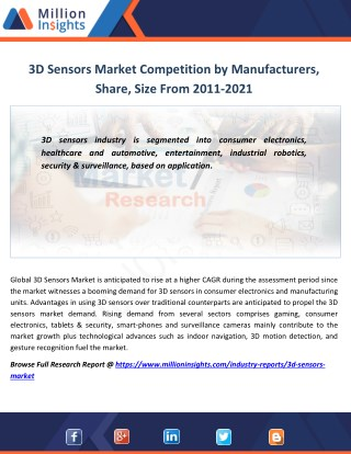 3D Sensors Industry Analysis by Application,Growth Rate, Sales Forecast 2021
