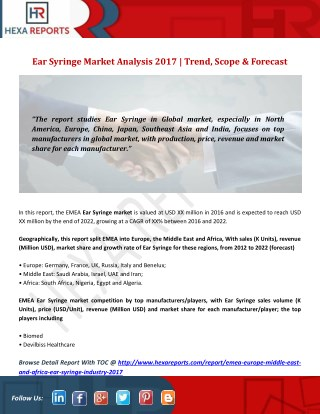 Ear Syringe Market Analysis 2017 | Trend, Scope & Forecast