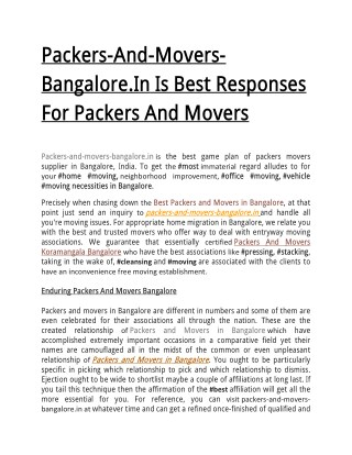 Packers-And-Movers-Bangalore.In Is Best Responses For Packers And Movers