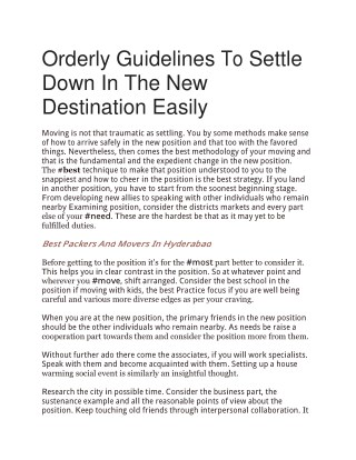 Orderly Guidelines To Settle Down In The New Destination Easily
