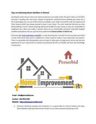 Home Builders in Bristol - Perserbid