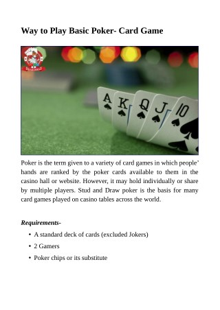 Way to Play Basic Poker- Card Game