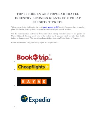 TOP 10 HIDDEN AND POPULAR TRAVEL INDUSTRY BUSINESS GIANTS FOR CHEAP FLIGHTS TICKETS