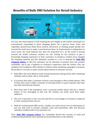 Benefits of Bulk SMS Solution for Retail Industry