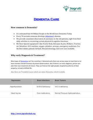 Alzheimer's Dementia Care and Elderly Care Centre in India