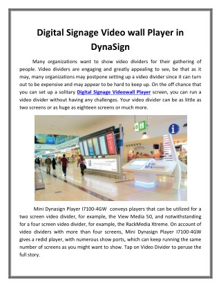 Digital Signage Video wall Player in DynaSign