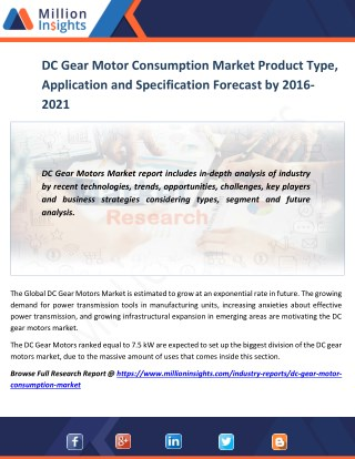 DC Gearmotor Consumption Market Product Type, Application and Specification Forecast by 2016-2021