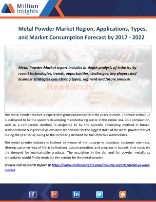 Metal Powder Market Region, Applications, Types, and Market Consumption Forecast by 2017 - 2022