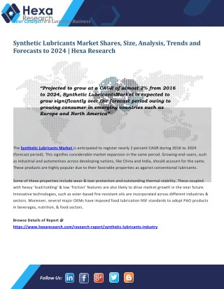 Synthetic Lubricants Market Share | Industry Report, 2024