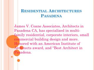 Residential Architectures Pasadena