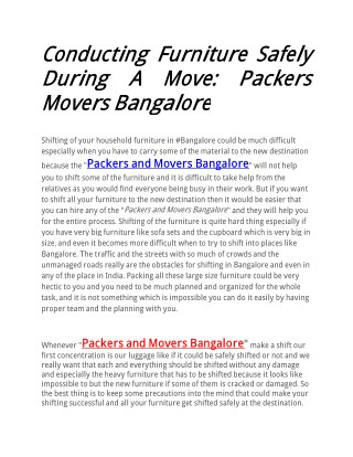 Conducting Furniture Safely During A Move: Packers Movers Bangalore