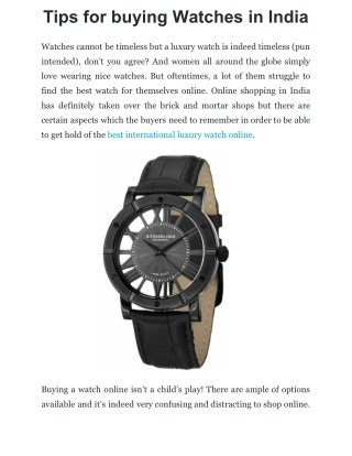 Tips for buying Watches in India