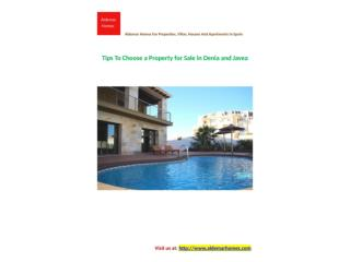Tips To Choose a Property for Sale in Denia and Javea