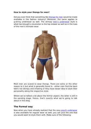 How to style your thongs for men?