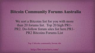 Bitcoin Community Forums Australia