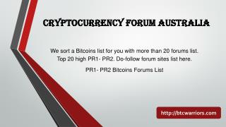 Cryptocurrency Forums Australia