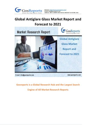 Global Antiglare Glass Market Report and Forecast to 2021
