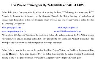Live project training for diploma in computer & it of delhi polytechnic available at baluja labs.