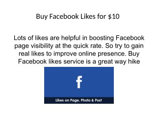 Buy Facebook Likes for $10