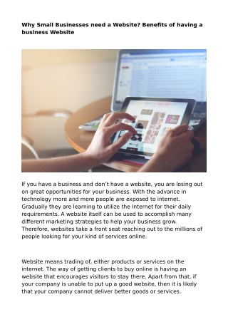 Why Small Businesses need a Website? Benefits of having a business Website