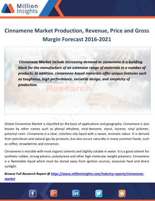 Cinnamene Industry Analysis by Application,Growth Rate, Sales Forecast 2021