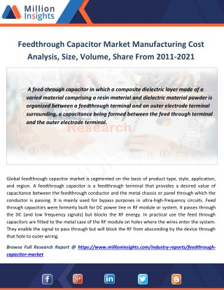 Feedthrough Capacitor Industry Revenue, Sales, Share, Prize Analysis 2021