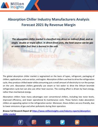 Absorption Chiller Marketing Strategy Analysis, Distributors,Traders Forecast 2021