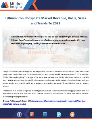Lithium Iron Phosphate Market Manufacturing Cost Analysis,Size, Volume, Share From 2012-2021