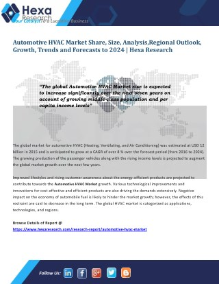 Global Automotive HVAC Market Size is Expected to Increase Significantly by 2024
