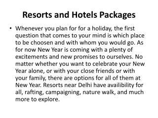 Hotels and Resorts Packages