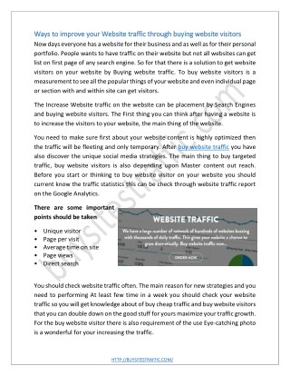 Ways to improve your Website traffic through buying website visitors