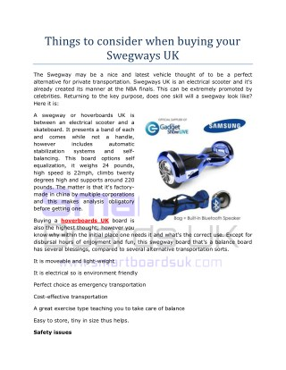 Things to Consider When Buying your Swegways UK