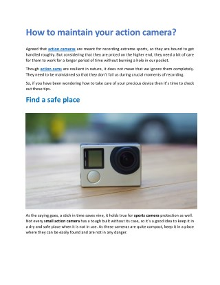 How to Maintain Your Action Camera