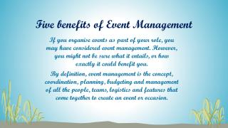 Five benefits of Event Management