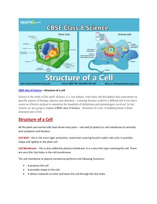 CBSE class 8 science structure of a cell