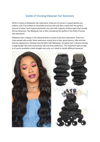 Guides of Choosing Malaysian Hair Extensions