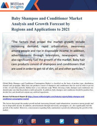 Baby Shampoo and Conditioner Market Analysis and Growth Forecast by Regions and Applications to 2021